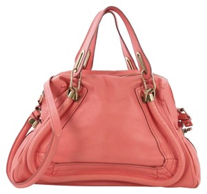 Chloé Leather Paraty Satchel in pink