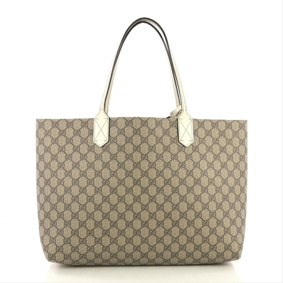 3c2d99f96d7 Gucci Reversible Gg Print Medium Light Brown Leather Tote - Tradesy