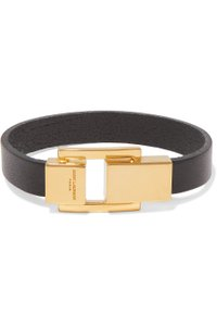 Saint Laurent Leather and gold-tone bracelet M