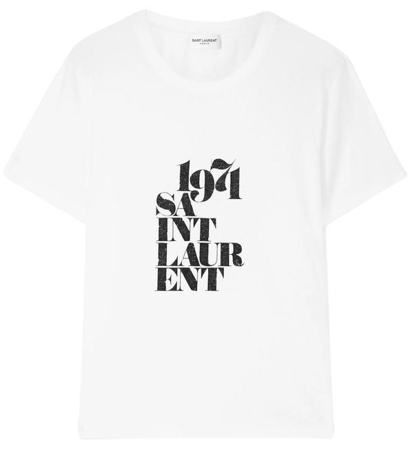 5f3f011fbbbb Saint Laurent Printed Cotton-jersey T-shirt Tee Shirt Size 12 (L ...