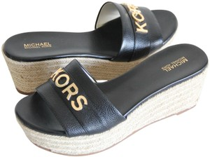 Michael Kors Mk Logo Brady Wedge Leather Black Sandals