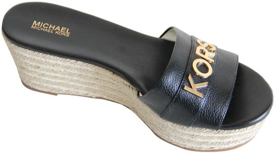 Michael Kors Mk Logo Brady Wedge Leather Black Sandals Image 1