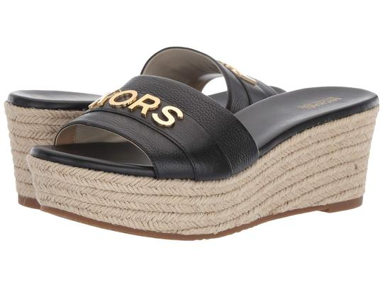 Michael Kors Mk Logo Brady Wedge Leather Black Sandals Image 11
