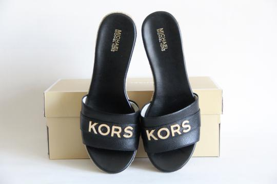 Michael Kors Mk Logo Brady Wedge Leather Black Sandals Image 2