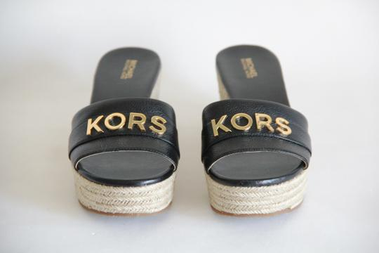 Michael Kors Mk Logo Brady Wedge Leather Black Sandals Image 3