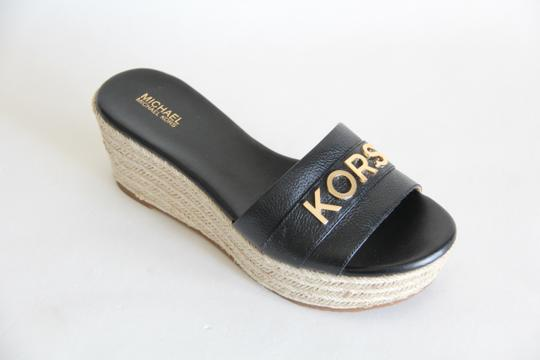 Michael Kors Mk Logo Brady Wedge Leather Black Sandals Image 4