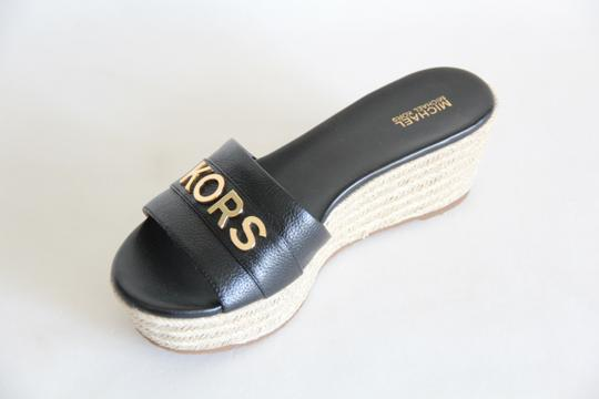 Michael Kors Mk Logo Brady Wedge Leather Black Sandals Image 5