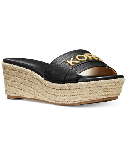 Michael Kors Mk Logo Brady Wedge Leather Black Sandals Image 8