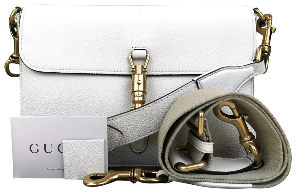 608dca6302896 Gucci Jackie Soft Piston Lock Flap Sale Ivory Leather Cross Body Bag ...