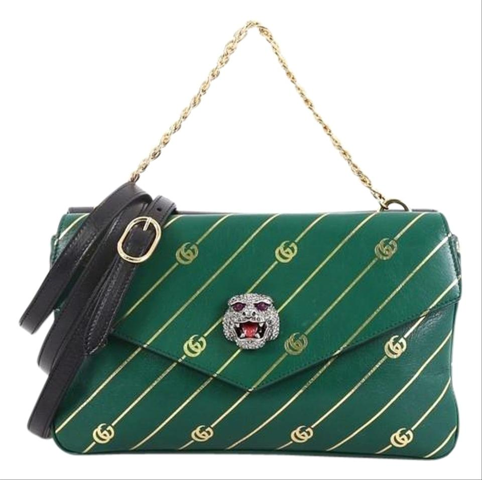 1896e6e0217d Gucci Thiara Double Printed Medium Green Leather Shoulder Bag - Tradesy