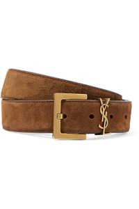 Saint Laurent logo embellished suede leather belt size 70