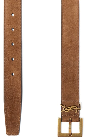 Saint Laurent logo embellished suede leather belt size 70 Image 1