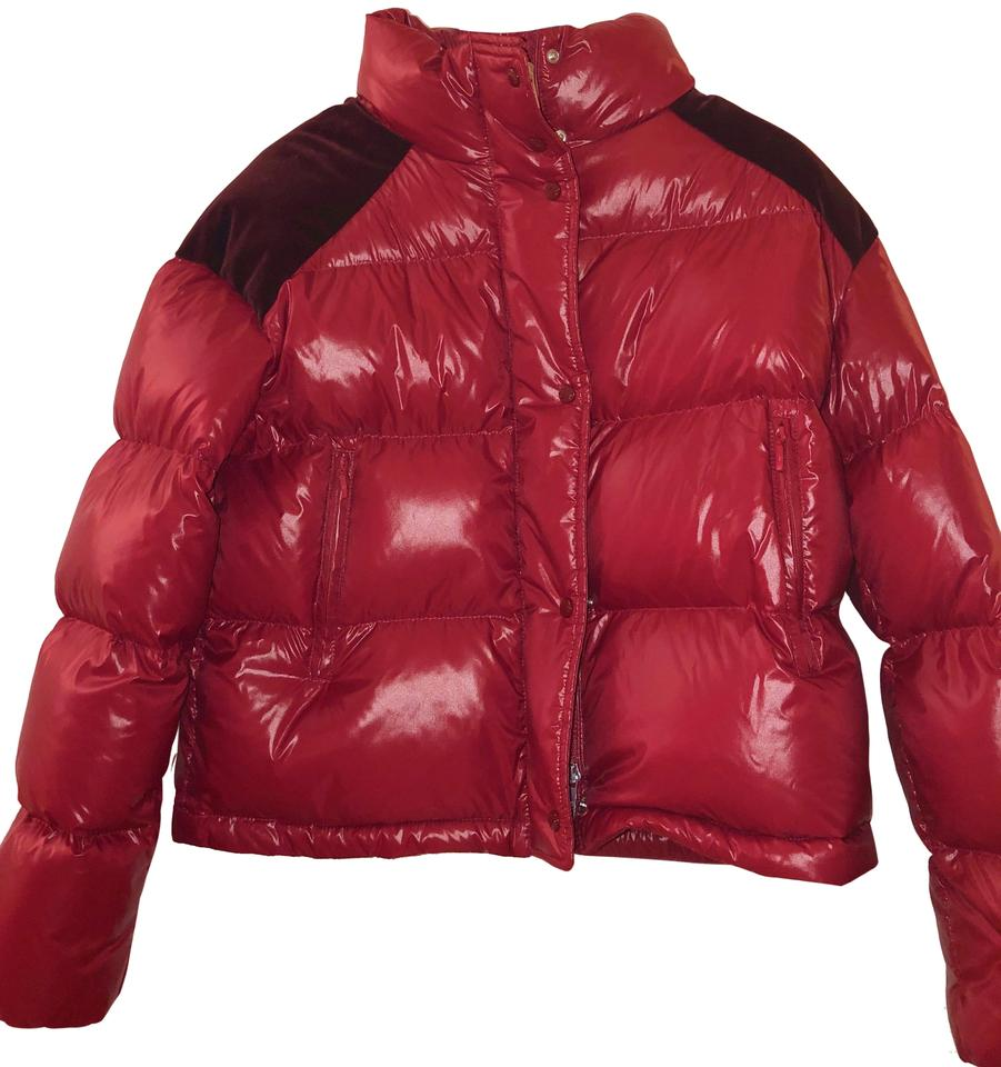 8c92986a0 Moncler Red 1952 Chouette Velvet-trimmed Down-quilted Jacket Coat Size 0  (XS) 43% off retail