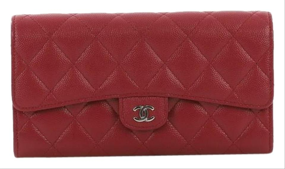 1e7b79555878 Chanel Classic Flap Cc Gusset Wallet Quilted Caviar Long Red Leather ...