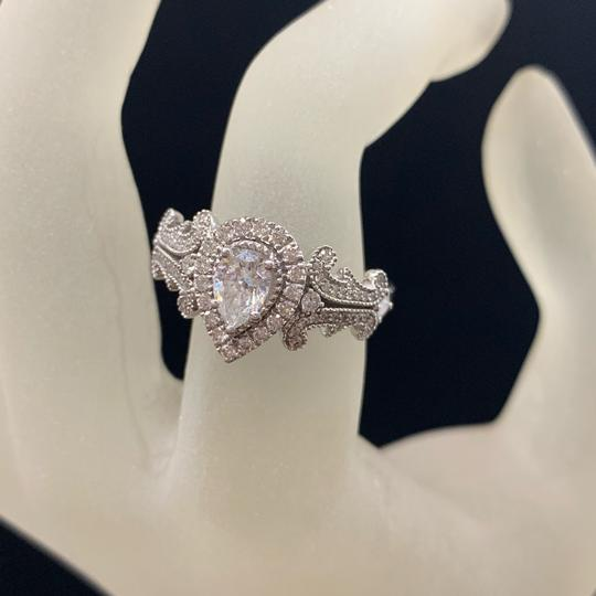 Vera Wang White Gold W Love Collection 1 Ct. T.w. Pear-shaped Diamond Frame In 14k Engagement Ring Image 3