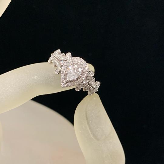 Vera Wang White Gold W Love Collection 1 Ct. T.w. Pear-shaped Diamond Frame In 14k Engagement Ring Image 6