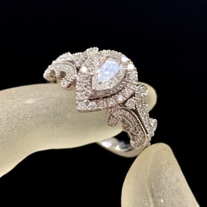 Vera Wang White Gold W Love Collection 1 Ct. T.w. Pear-shaped Diamond Frame In 14k Engagement Ring
