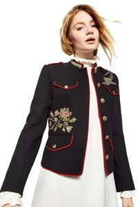 Zara Coat Embroidered Mandarin Collar Military Jacket