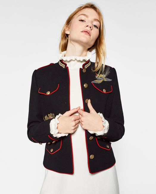 Zara Coat Embroidered Mandarin Collar Military Jacket Image 1
