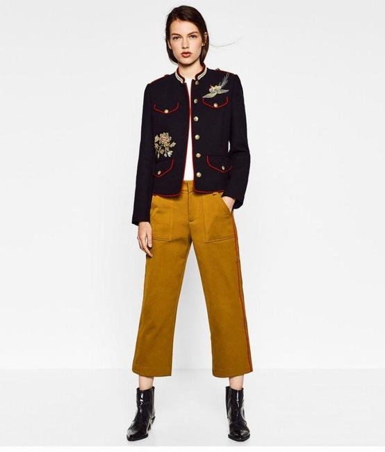Zara Coat Embroidered Mandarin Collar Military Jacket Image 2