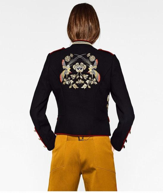 Zara Coat Embroidered Mandarin Collar Military Jacket Image 3