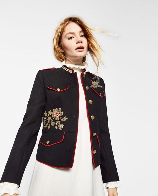 Zara Coat Embroidered Mandarin Collar Military Jacket Image 4