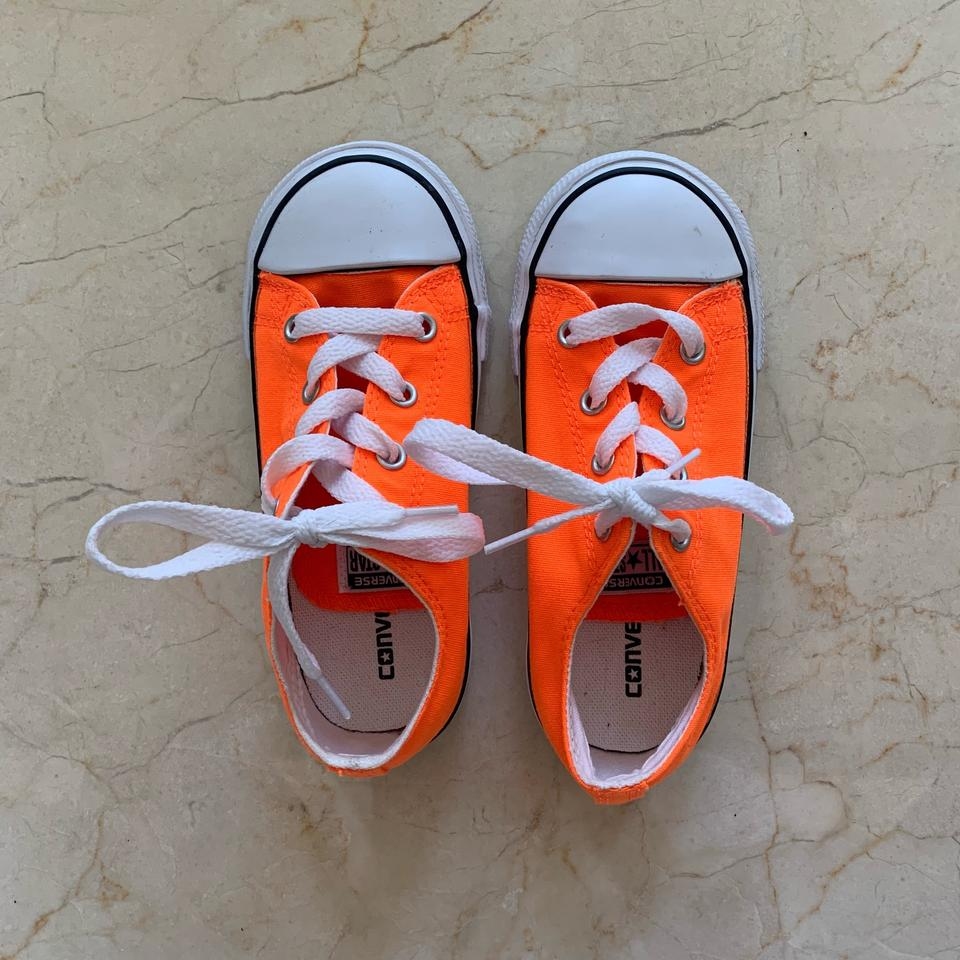 448d3732365d Converse Neon Orange and White Childrens Like New All Star Sneakers ...