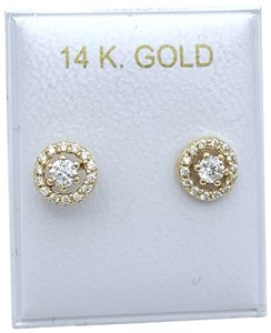 Other (818) 14k gold round stud earrings