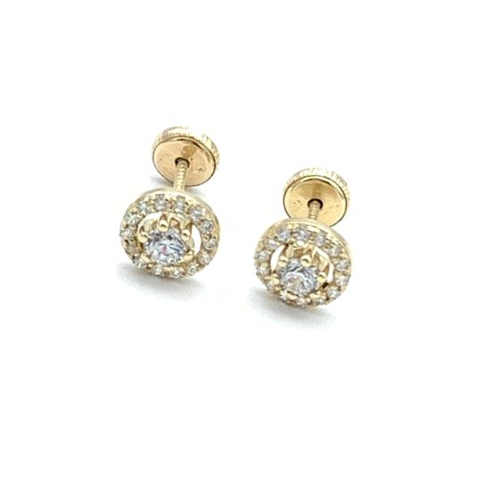 Other (818) 14k gold round stud earrings Image 1