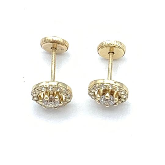 Other (818) 14k gold round stud earrings Image 2