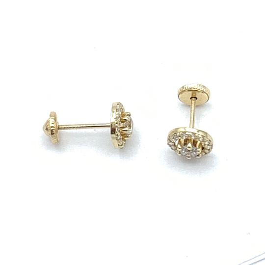 Other (818) 14k gold round stud earrings Image 3