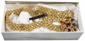 "Chanel Fall 2001 Chanel Gold Chain Byzantine Gripoix Flower Belt 27.5"" Waist"