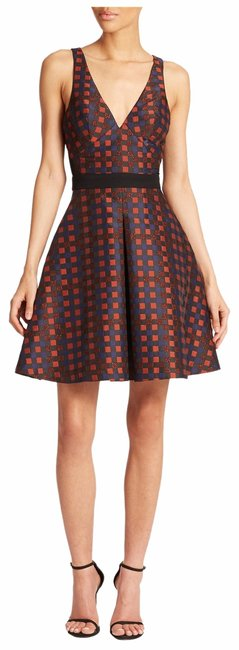 Item - Rust Orange Black Navy Check Print Sheer Mesh Fit Flare Sleeveless Short Cocktail Dress Size 4 (S)