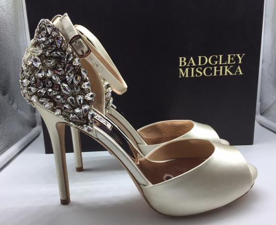 Badgley Mischka Ivory Vanity Crystal Embellished Pumps Size US 6.5 Regular (M, B) Image 3