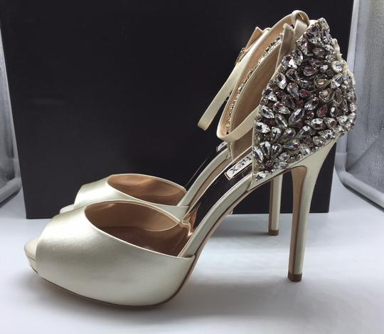 Badgley Mischka Ivory Vanity Crystal Embellished Pumps Size US 6.5 Regular (M, B) Image 4