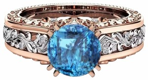 Fashion Hollow Plant Zircon Blue Gold Engagement Ring for Female Two-tone Flower Rhinestone Wedding Rings for Women Jewelry Ring Fashion Hollow Plant Zircon Blue Gold Engagement Ring for Female Two-tone Flower Rhinestone Wedding Rings for Women Jewelry Ring