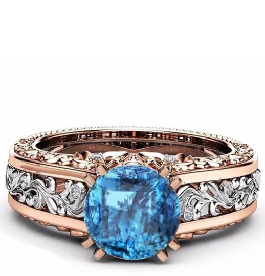 Fashion Hollow Plant Zircon Blue Gold Engagement Ring for Female Two-tone Flower Rhinestone Wedding Rings for Women Jewelry Ring Fashion Hollow Plant Zircon Blue Gold Engagement Ring for Female Two-tone Flower Rhinestone Wedding Rings for Women Jewelry Ring Image 1