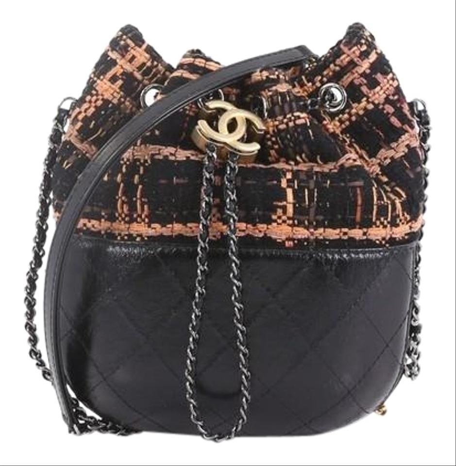 d3aaf08f9e210f Chanel Gabrielle Drawstring Quilted Calfskin and Tweed Small Black ...