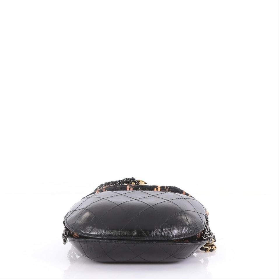 d63e963cf8e4 Chanel Gabrielle Drawstring Quilted Calfskin and Tweed Small Black Leather  Cross Body Bag - Tradesy