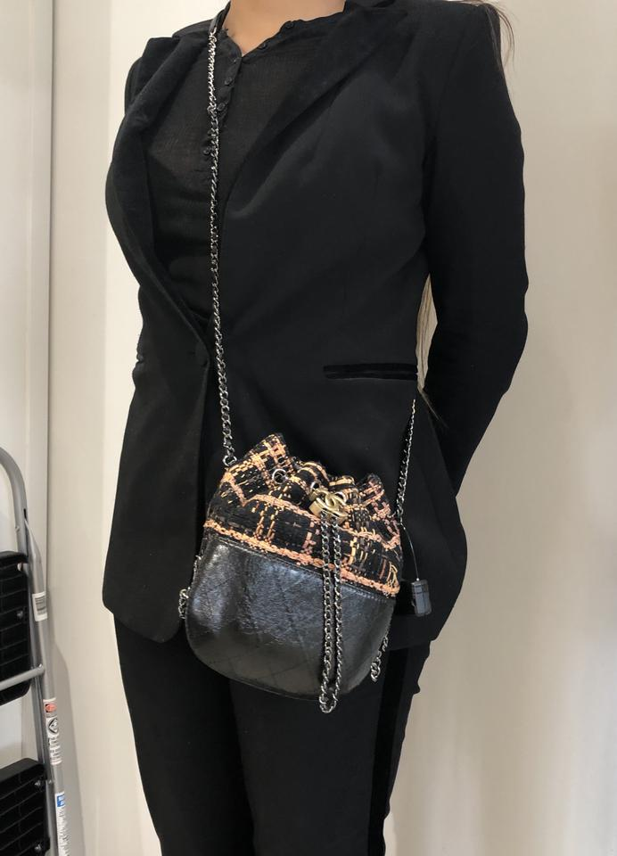 8870e46cc36c Chanel Gabrielle Drawstring Quilted Calfskin and Tweed Small Black ...