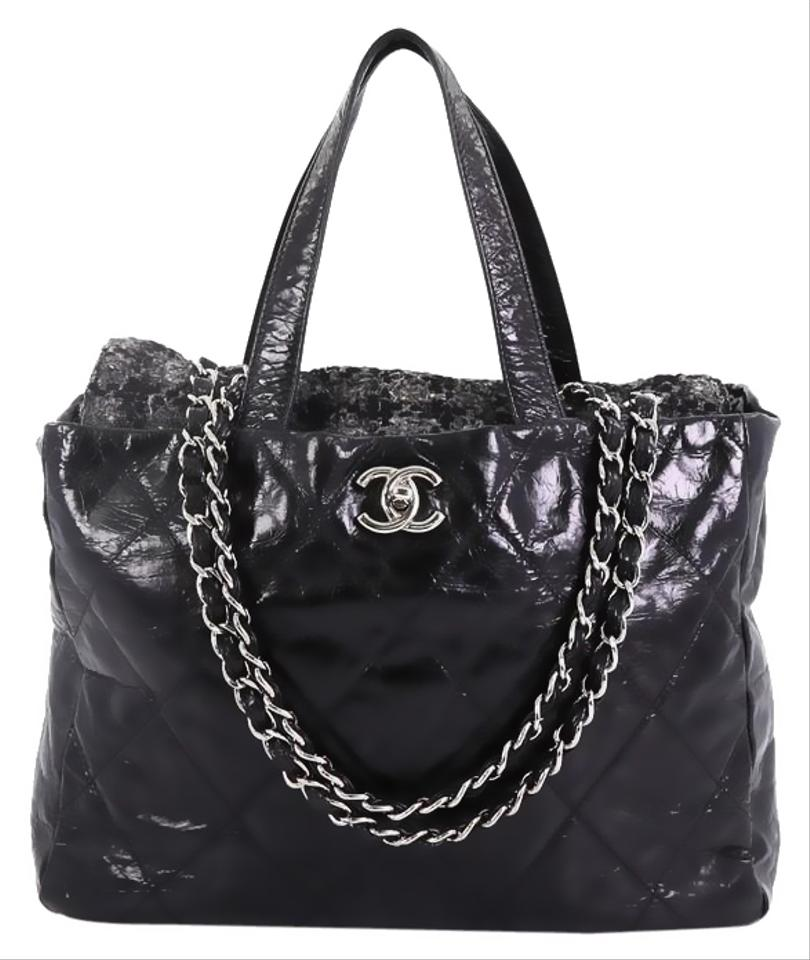 5a51f7df5c0e75 Chanel Portobello Tote Quilted Glazed Medium Black Calfskin and Tweed  Shoulder Bag