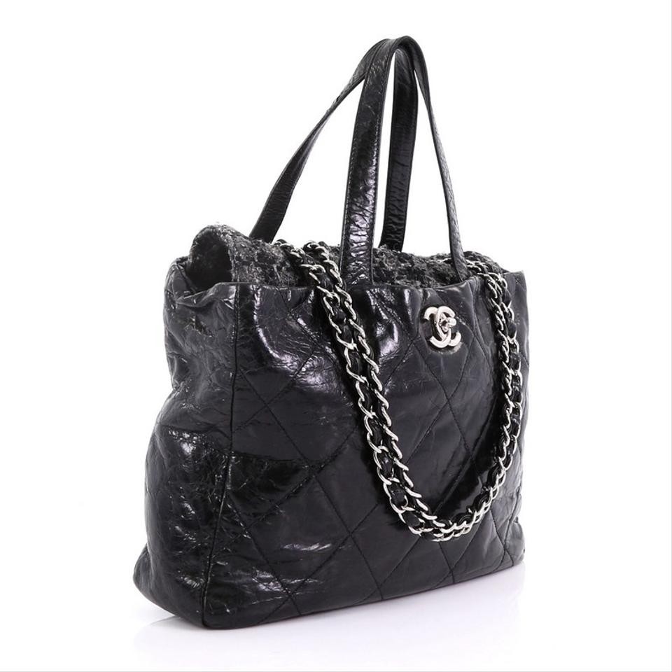 b20e95fdc392 Chanel Portobello Tote Quilted Glazed Medium Black Calfskin and Tweed  Shoulder Bag - Tradesy