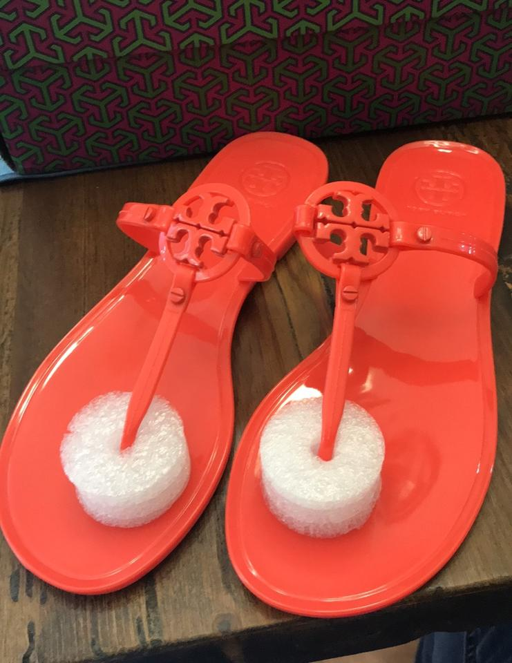 4800239fb842 Tory Burch Poppy Coral Orange Mini Miller Jelly Flat Thong Sandals Size US  8 Regular (M