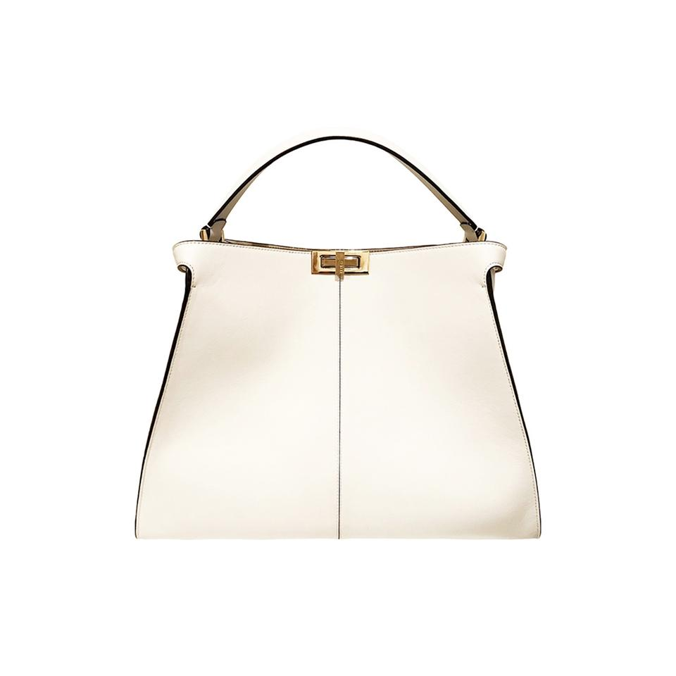 871a017784 Fendi Peekaboo X-lite Calfskin White Leather Tote 25% off retail