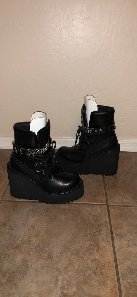 buy popular 9d6a9 bcaa6 FENTY PUMA by Rihanna Black Leather Wedge Chain Ankle Boots/Booties Size US  5 Regular (M, B)
