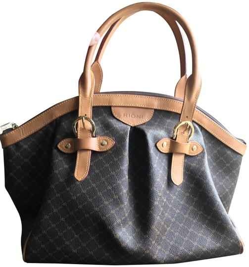 Preload https://img-static.tradesy.com/item/25240746/rioni-ruched-with-buckle-brown-canvas-and-leather-satchel-0-1-540-540.jpg