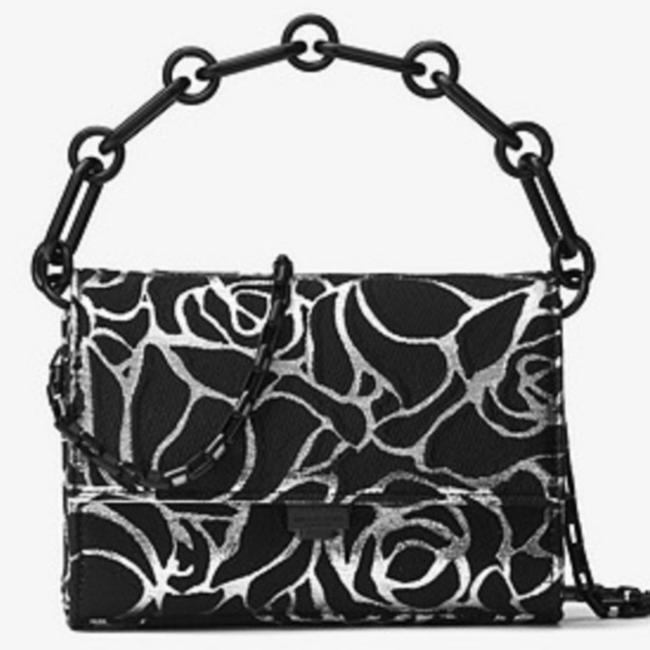 Item - Yasmeen Small Rose Jacquard Black/Silver Clutch