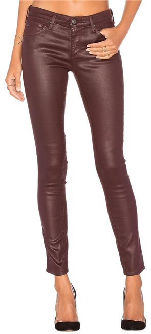 Item - Wine Coated Vegan Leatherette Faux Leather Maroon Oxblood Burgundy Skinny Jeans Size 29 (6, M)