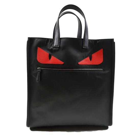Preload https://img-static.tradesy.com/item/25240829/fendi-new-authenticated-large-monster-tote-face-le-black-red-nylon-shoulder-bag-0-0-540-540.jpg