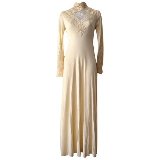 Ivory Gown Boho High Neck Victorian 1970s 70s Vintage